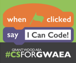 Block based code sharing the message I can Code! and the Hashtag CSforGWAEA.