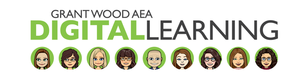 The Grant Wood AEA Digital Learning Team logo with bitmoji images of each team member under the logo