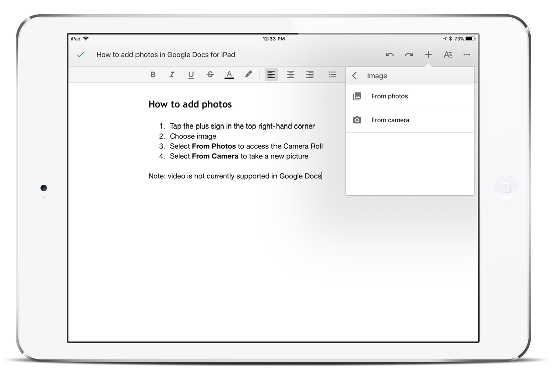 Screenshot: Adding images in Google Docs for iPad